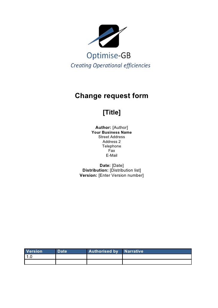 Project change request - Project Management template