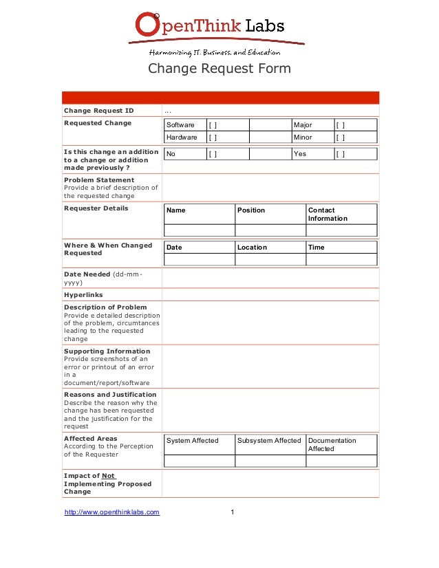 Sample Software Request Forms