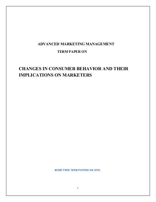 Consumer behavior term paper