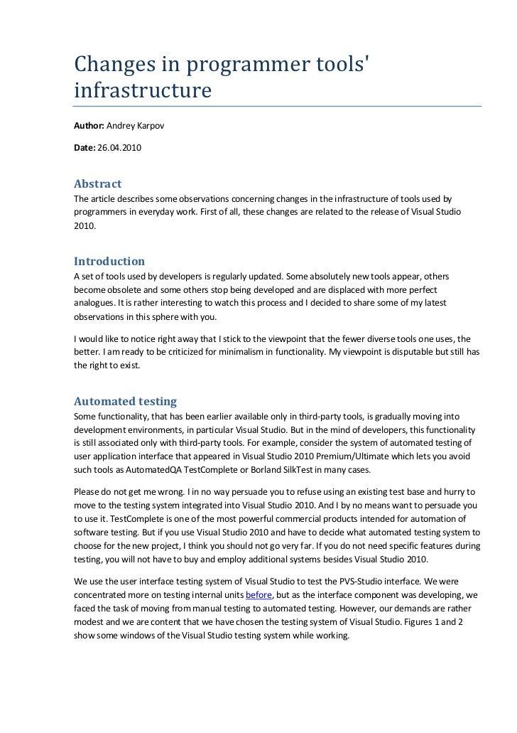 Changes in programmer toolsinfrastructureAuthor: Andrey KarpovDate: 26.04.2010AbstractThe article describes some observati...