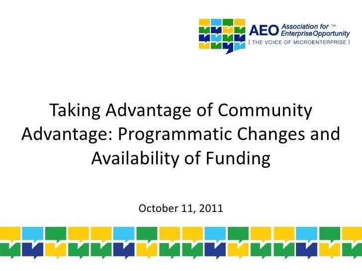 Changes to community advantage pilot program