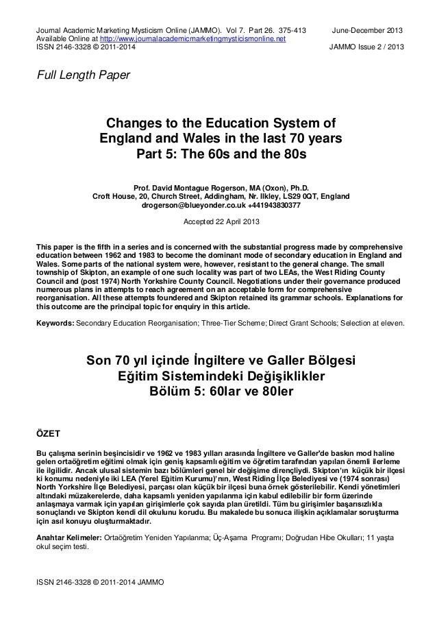Changes to the Education System of England and Wales in the last 70 years Part 5: The 60s and the 80s