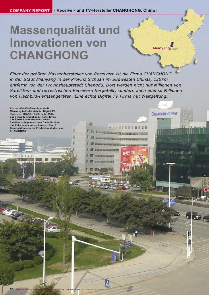 COMPANY REPORT                         Receiver- und TV-Hersteller CHANGHONG, China     Massenqualität und Innovationen vo...
