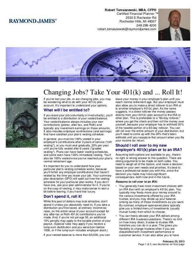 Robert Tomaszewski, MBA, CFP®                                                           Certified Financial Planner ™     ...
