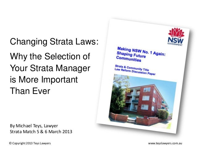 Changing Strata Law