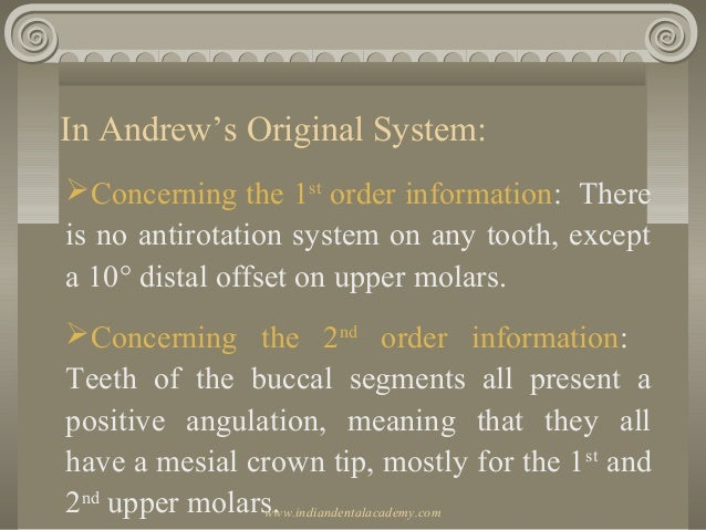 In Andrew's Original System: Concerning the 1st order information: There is no antirotation system on any tooth, except a...