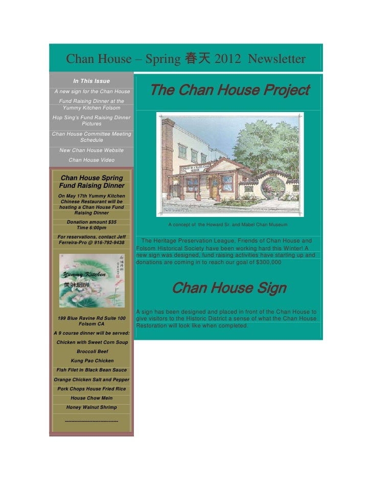 Chan House – Spring 春天 2012 Newsletter                                            The Chan House Project         In This I...