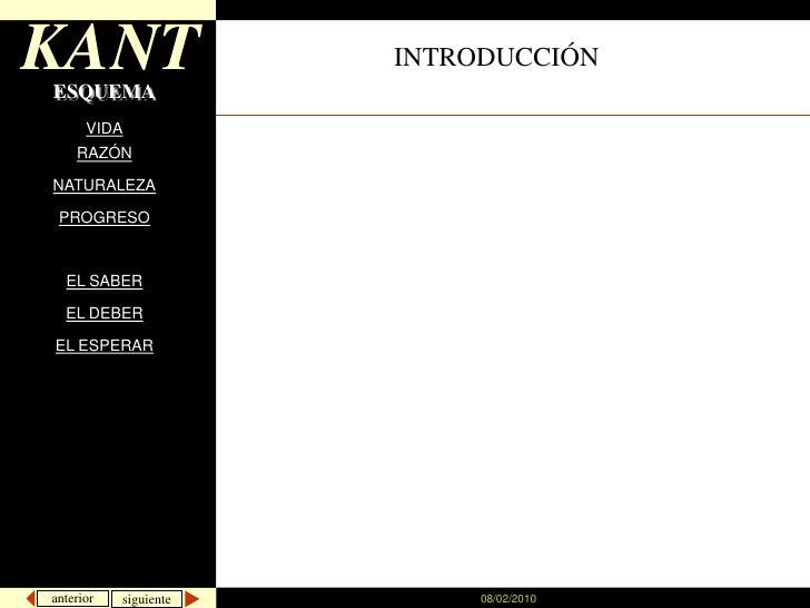 08/02/2010<br />KANT<br />INTRODUCCIÓN<br />ESQUEMA<br />VIDA<br />RAZÓN<br />NATURALEZA<br />PROGRESO<br />EL SABER<br />...