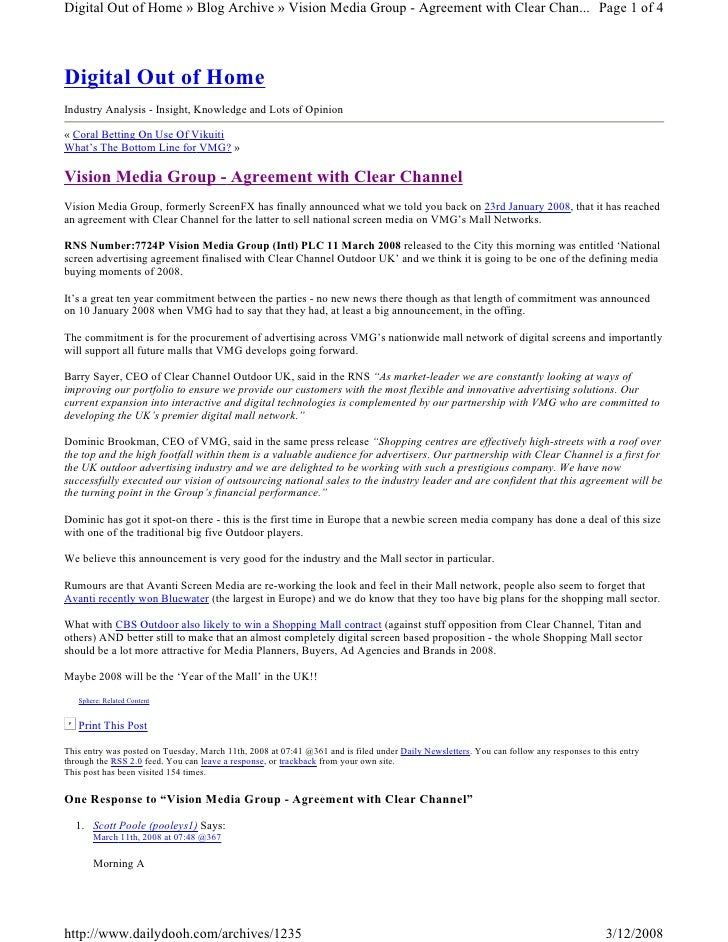 Digital Out of Home » Blog Archive » Vision Media Group - Agreement with Clear Chan... Page 1 of 4     Digital Out of Home...