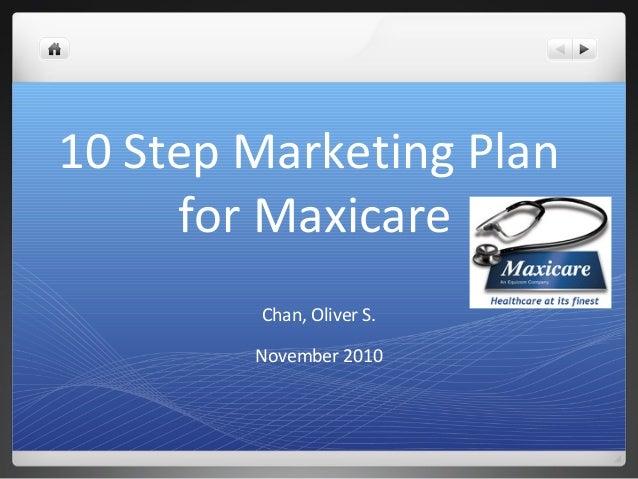 10 Step Marketing Plan for Maxicare Chan, Oliver S. November 2010