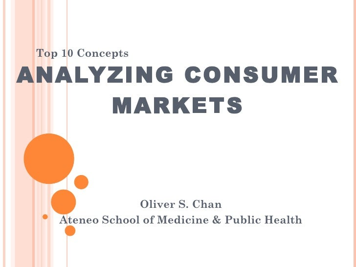 ANALYZING CONSUMER MARKETS Oliver S. Chan Ateneo School of Medicine & Public Health Top 10 Concepts