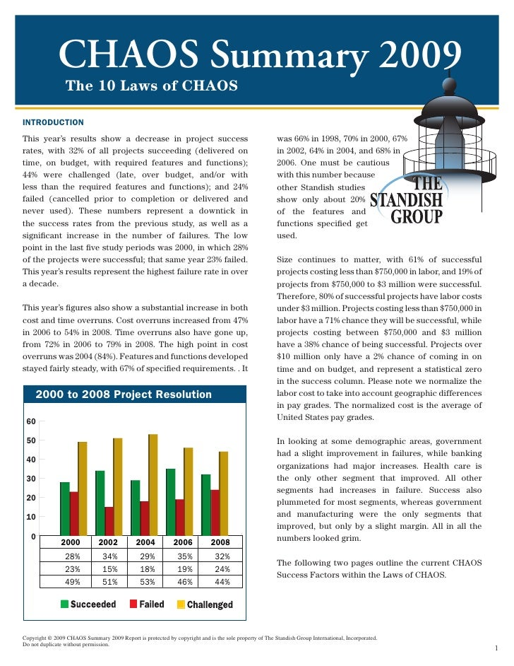 CHAOS Summary 2009                 The 10 Laws of CHAOSINTRODUCTIONThis year's results show a decrease in project success ...