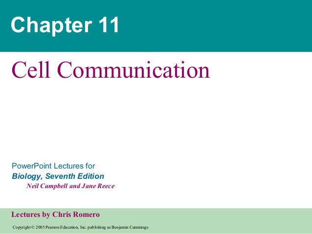 Chapter 11  Cell Communication  PowerPoint Lectures for Biology, Seventh Edition Neil Campbell and Jane Reece  Lectures by...