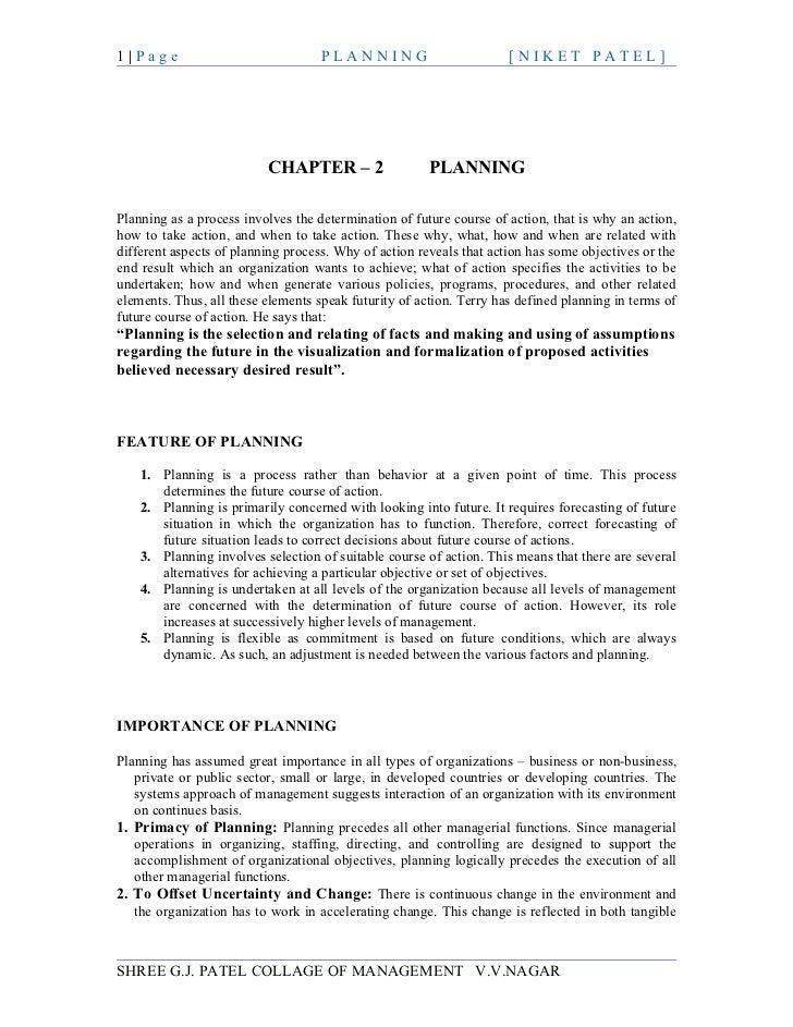 1|Page                              PLANNING                         [NIKET PATEL]                          CHAPTER – 2   ...