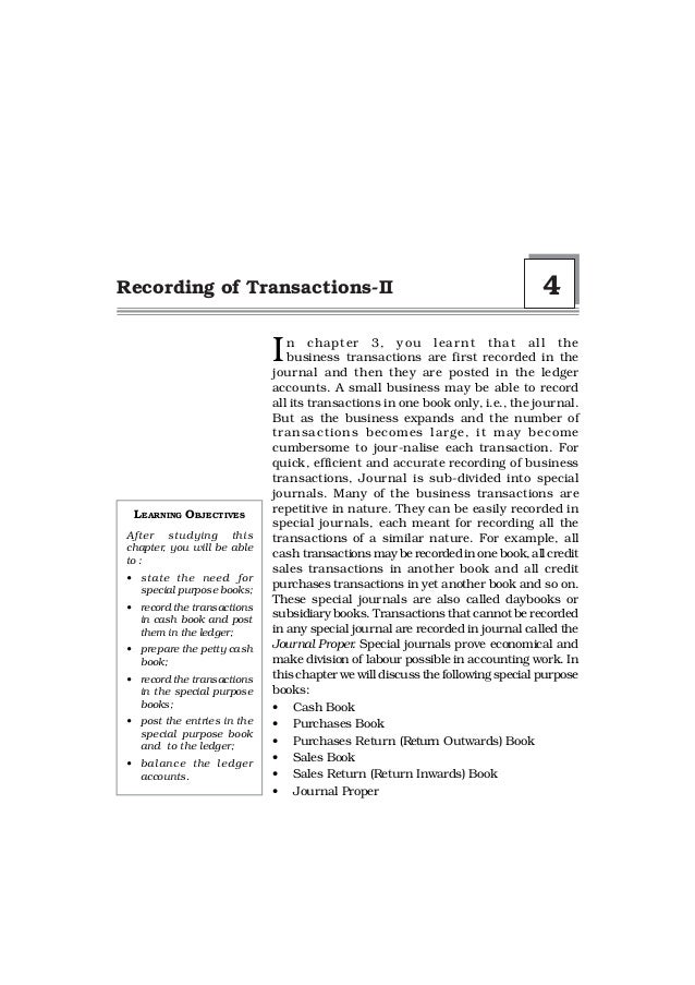 Recording of Transactions-II                                                   4                            I  n chapter 3...