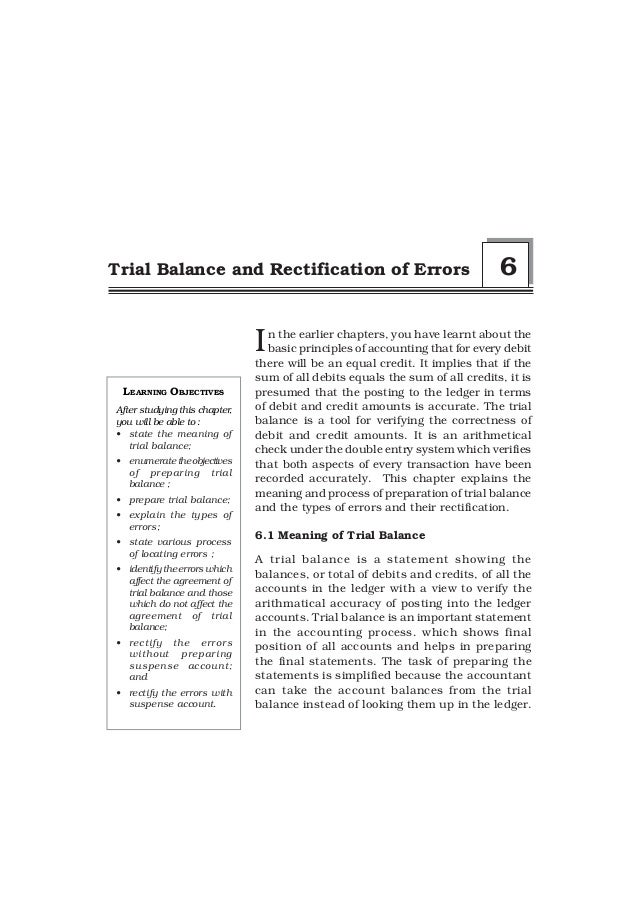 Trial Balance and Rectification of Errors                                     6                               I  n the ear...