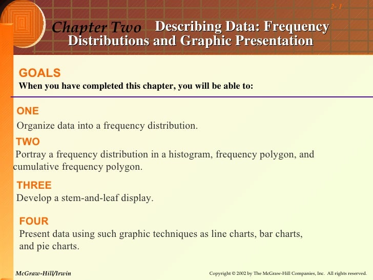 2- 1          Chapter Two Describing Data: Frequency                Distributions and Graphic Presentation GOALS When you ...