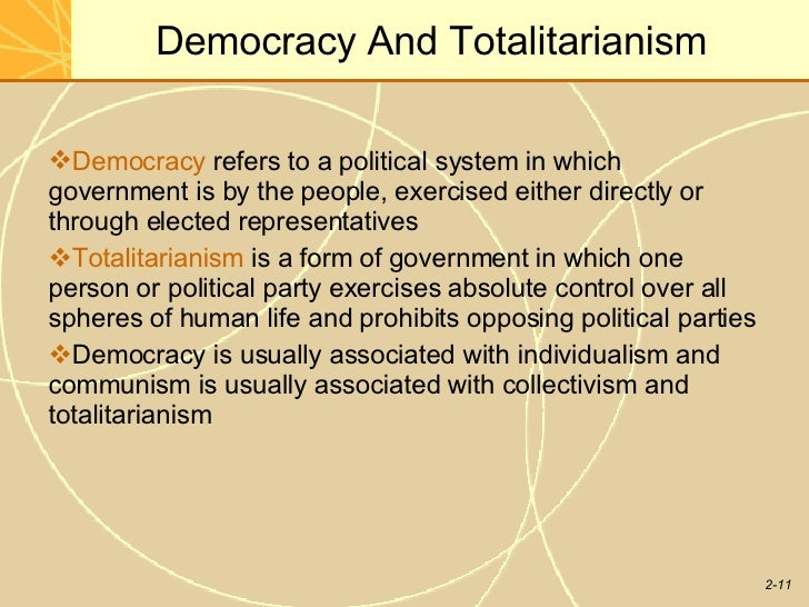 What lives in a democracy and what dies under totalitarian?