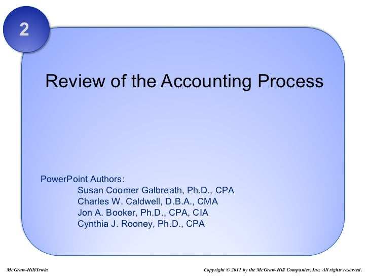 Review of the Accounting Process 2 Copyright © 2011 by the McGraw-Hill Companies, Inc. All rights reserved. McGraw-Hill/Ir...