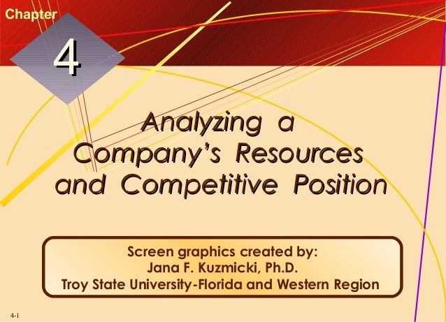 Chapter  4 Analyzing a Company's Resources and Competitive Position Screen graphics created by: Jana F. Kuzmicki, Ph.D. Tr...