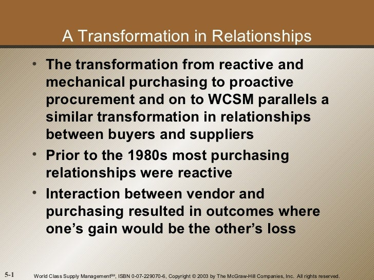 A Transformation in Relationships      • The transformation from reactive and        mechanical purchasing to proactive   ...