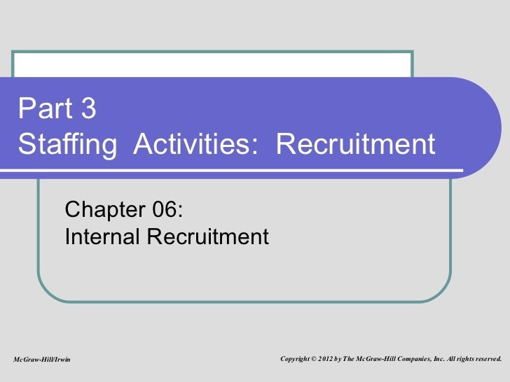 Part 3 Staffing  Activities:  Recruitment Chapter 06: Internal Recruitment McGraw-Hill/Irwin Copyright © 2012 by The McGra...