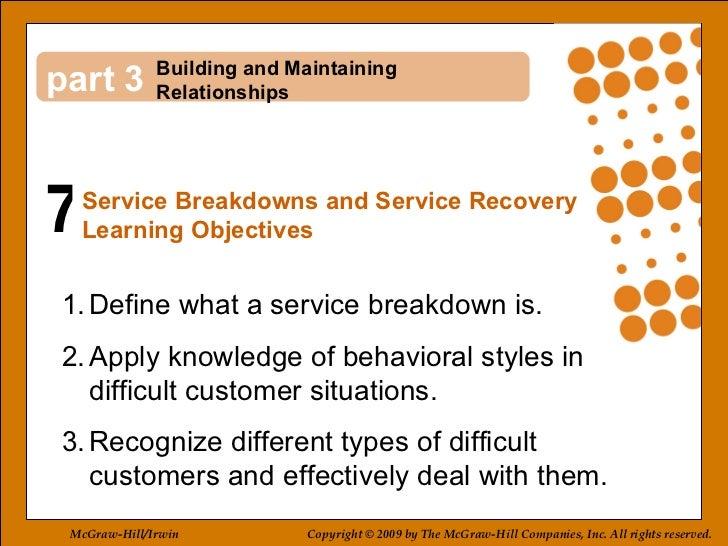7 3 <ul><li>Define what a service breakdown is. </li></ul><ul><li>Apply knowledge of behavioral styles in difficult custom...