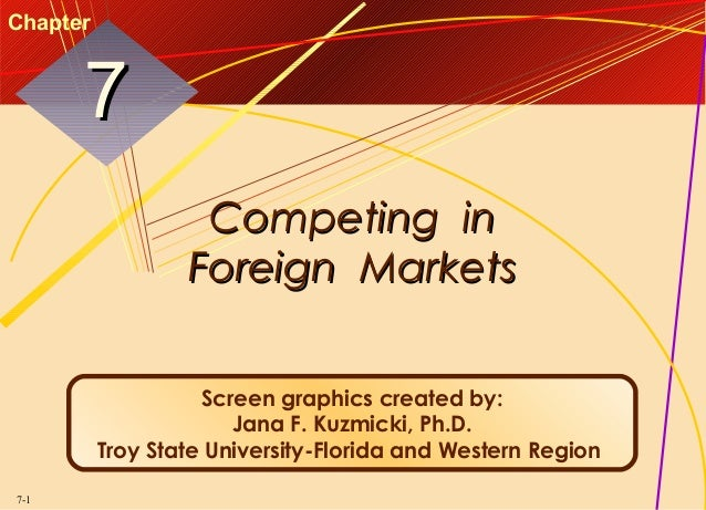 Chapter  7 Competing in Foreign Markets Screen graphics created by: Jana F. Kuzmicki, Ph.D. Troy State University-Florida ...