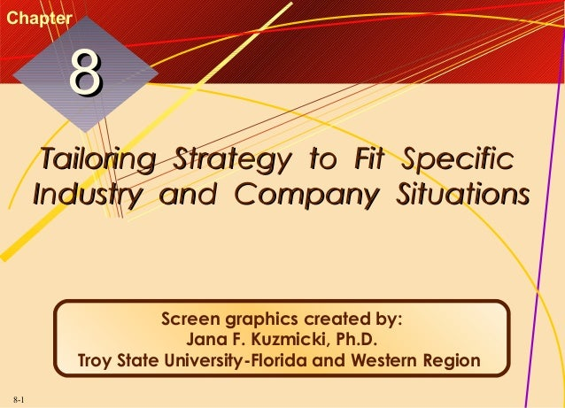 Chapter  8 Tailoring Strategy to Fit Specific Industry and Company Situations  Screen graphics created by: Jana F. Kuzmick...