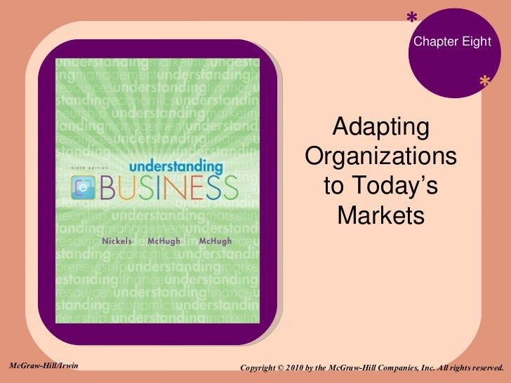 * * Chapter Eight Adapting Organizations to Today's Markets Copyright © 2010 by the McGraw-Hill Companies, Inc. All rights...