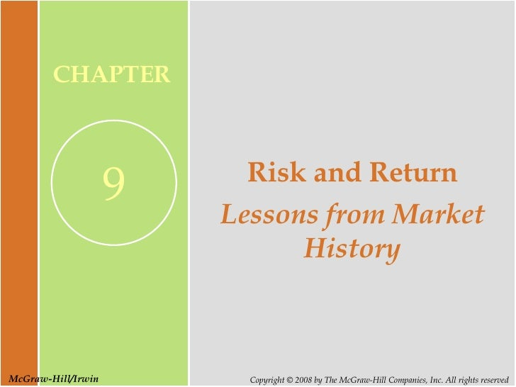 Risk and Return Lessons from Market History