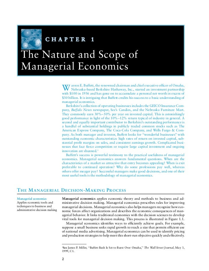 C H A P T E R                      1   The Nature and Scope of   Managerial Economics                                 W ar...