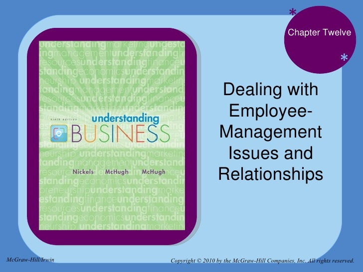 * * Chapter Twelve Dealing with Employee-Management Issues and Relationships Copyright © 2010 by the McGraw-Hill Companies...