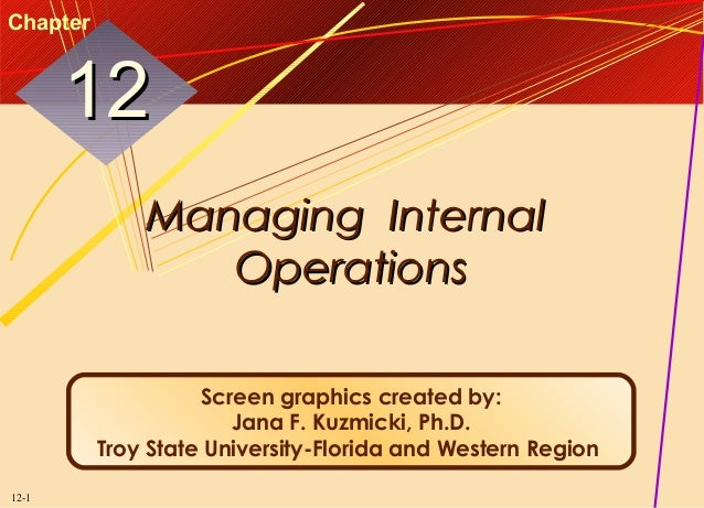 Chapter  12 Managing Internal Operations Screen graphics created by: Jana F. Kuzmicki, Ph.D. Troy State University-Florida...