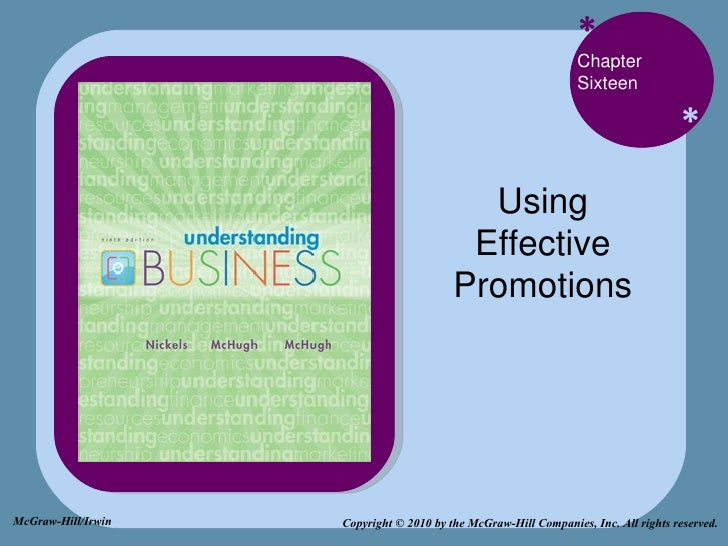 * * Chapter Sixteen Using Effective Promotions Copyright © 2010 by the McGraw-Hill Companies, Inc. All rights reserved. Mc...