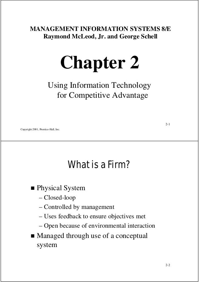 MANAGEMENT INFORMATION SYSTEMS 8/E Raymond McLeod, Jr. and George Schell  Chapter 2 Using Information Technology for Compe...