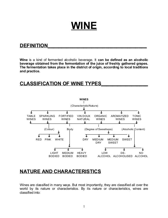 WINEDEFINITION____________________________________Wine is a kind of fermented alcoholic beverage. It can be defined as an ...