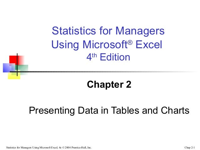 Statistics for Managers Using Microsoft® Excel 4th Edition Chapter 2 Presenting Data in Tables and Charts  Statistics for ...