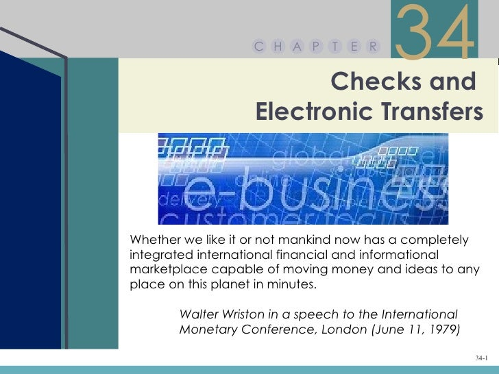 Chapter 34 – Checks and Electronic Transfers