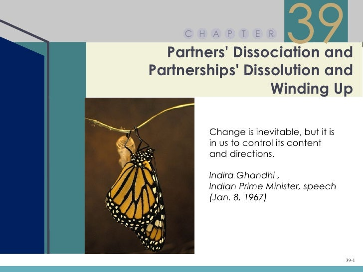 Chapter 39 – Partners' Dissociation and Partnerships' Dissolution and Winding Up