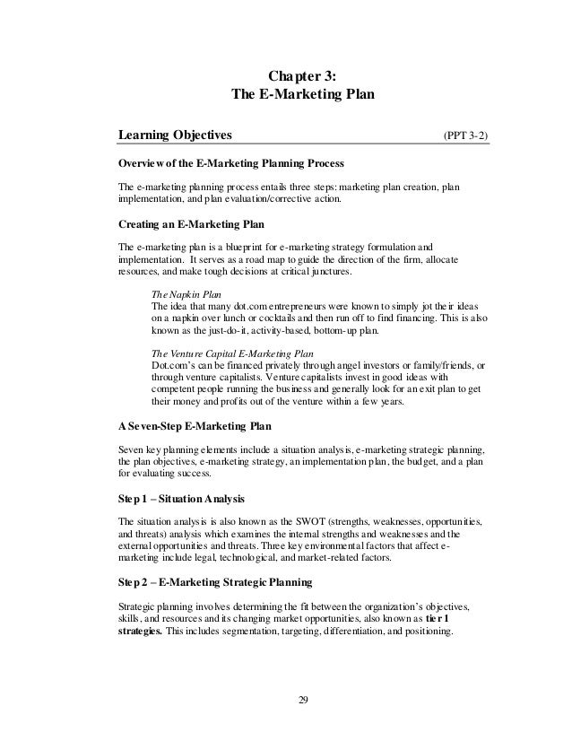 Chapter 3:                           The E-Marketing PlanLearning Objectives                                              ...