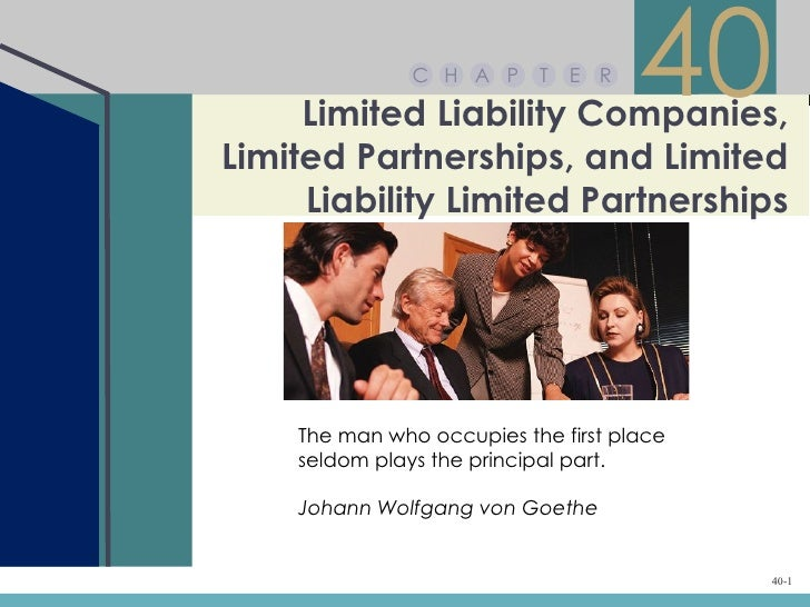 C H A P     T   E R     Limited Liability Companies,                                     40Limited Partnerships, and Limit...