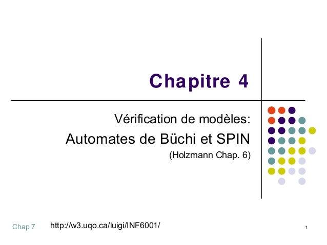 Chap 7 1Chapitre 4Vérification de modèles:Automates de Büchi et SPIN(Holzmann Chap. 6)http://w3.uqo.ca/luigi/INF6001/