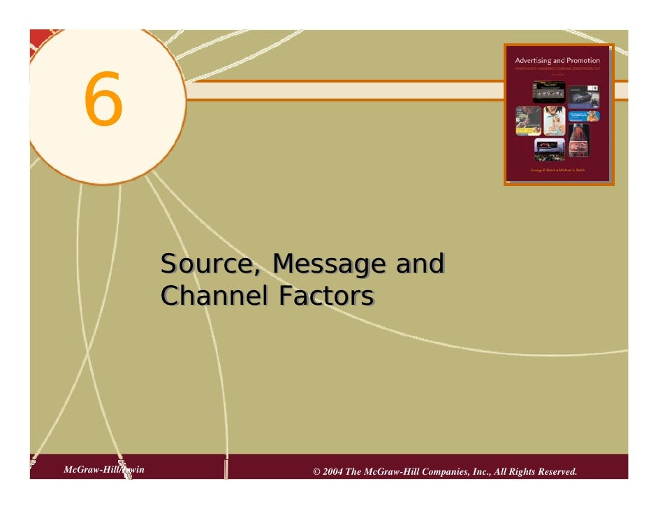 6                      Source, Message and                     Channel Factors     McGraw-Hill/Irwin             © 2004 Th...