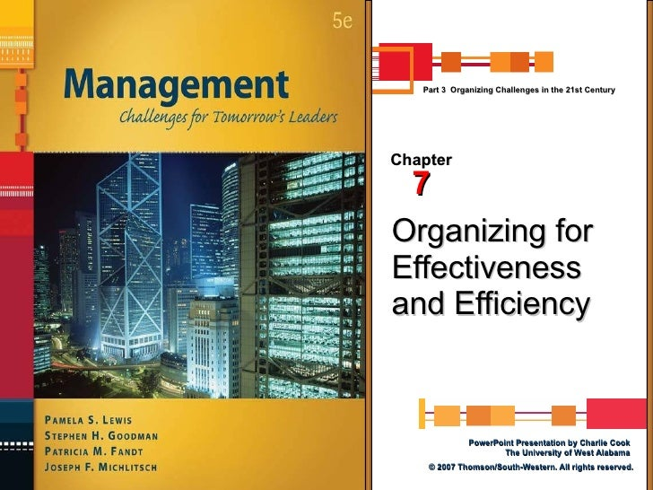Organizing for Effectiveness and Efficiency Chapter 7 Part 3  Organizing Challenges in the 21st Century