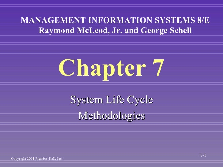 Chapter 7 <ul><li>System Life Cycle </li></ul><ul><li>Methodologies </li></ul>MANAGEMENT INFORMATION SYSTEMS 8/E Raymond M...
