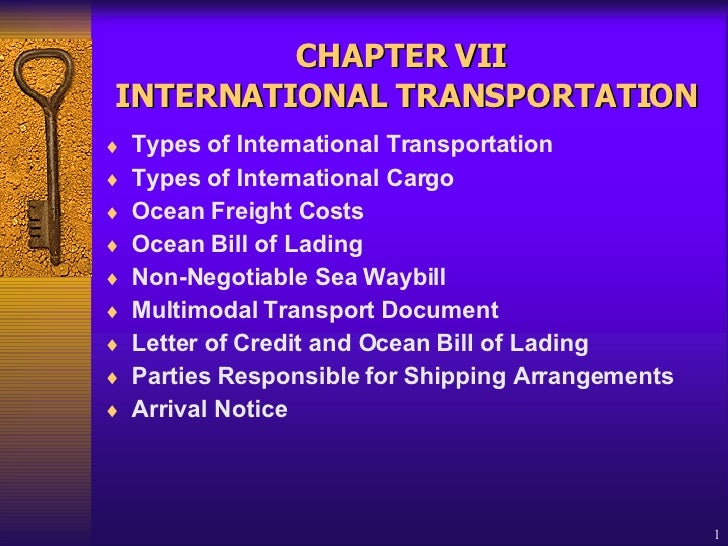 CHAPTER VII   INTERNATIONAL  TRANSPORTATION <ul><li>Types of International Transportation  </li></ul><ul><li>Types of Inte...