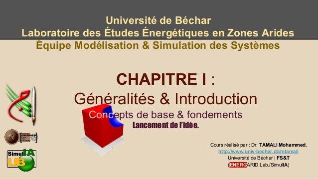 Chap I : Cours de Modélisation & Simulation des processus