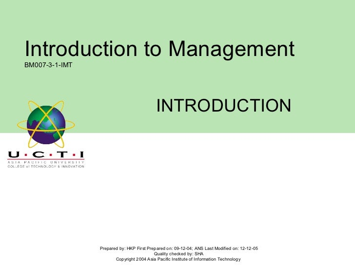 INTRODUCTION Prepared by: HKP First Prepared on: 09-12-04; ANS Last Modified on: 12-12-05 Quality checked by: SHA Copyrigh...