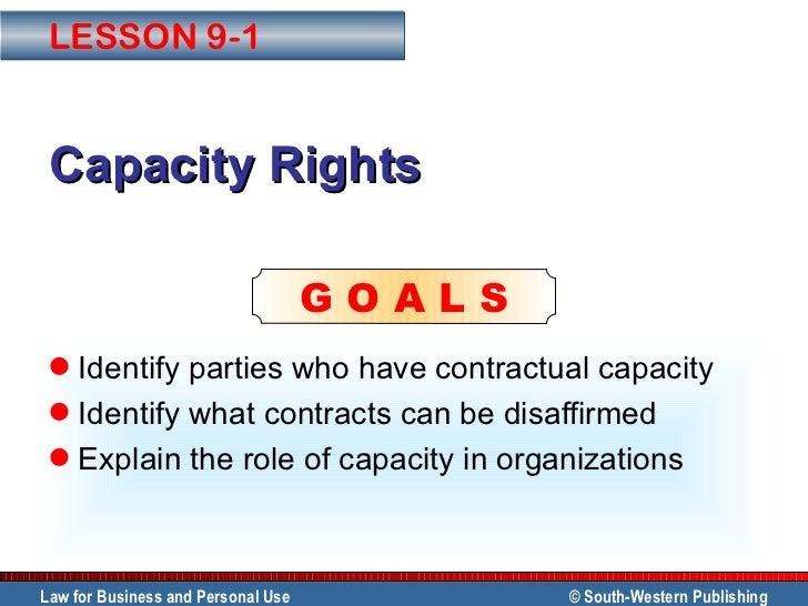 Capacity Rights <ul><li>Identify parties who have contractual capacity </li></ul><ul><li>Identify what contracts can be di...